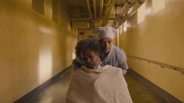 James McAvoy Escorts Samuel L Jackson Out Of The Hospital In 'Glass'
