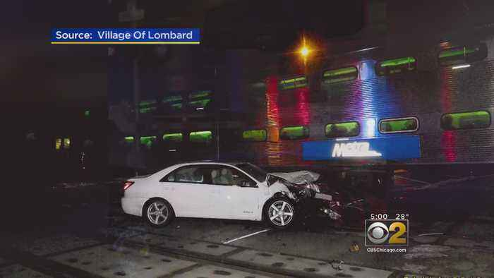 Metra Train Hits Car And Man Saves Senior Citizen From The Wreck