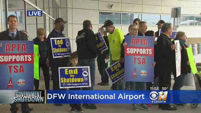 TSA Workers Rally Over Gov't Shutdown At DFW Airport