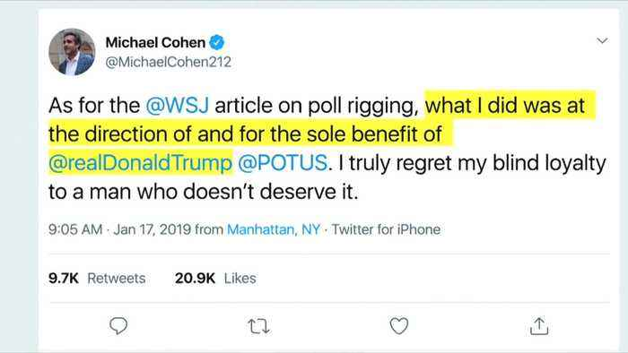 Cohen says he rigged polls for Trump