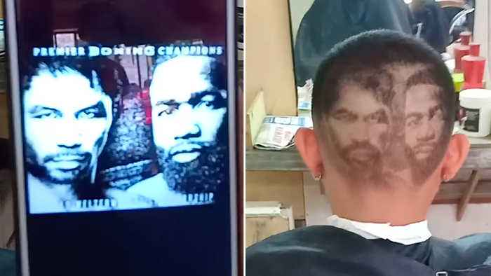 Barber Shaves Manny Pacquiao And Adrien Broner Into Customer's Hair