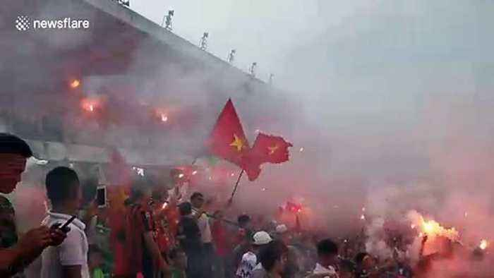 Vietnamese fans light up the streets celebrating victory in Asian Cup 2019