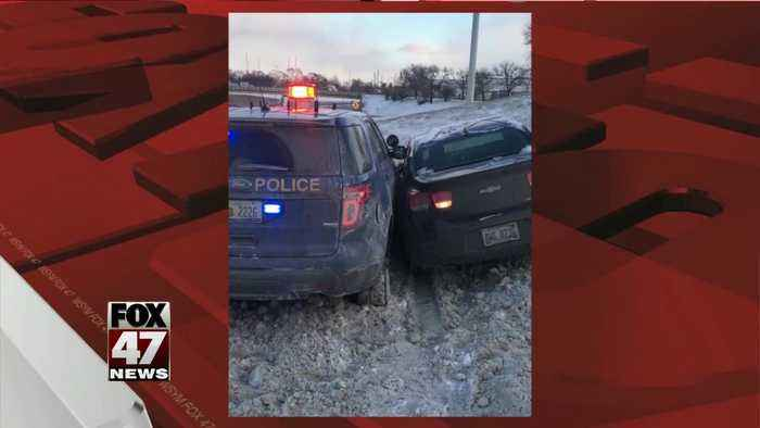 Man arrested after hitting patrol car while high