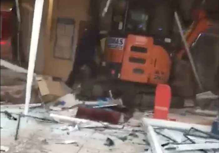 Builder Destroys Hotel Lobby With Digger in Rampage Sparked by Pay Dispute