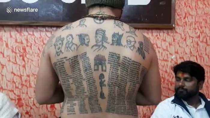 Indian man gets the names of more than 500 fallen soldiers tattooed on his body
