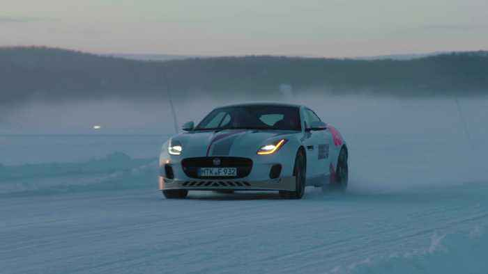 Luke Evans drives the Jaguar F-TYPE, Arctic Circle Challenge