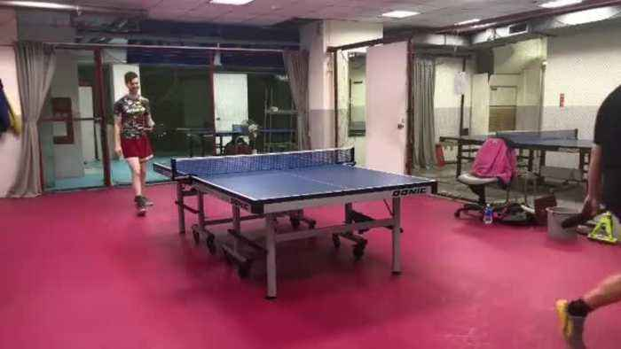 Ping Pong Player Hits Roller Shot Across Room