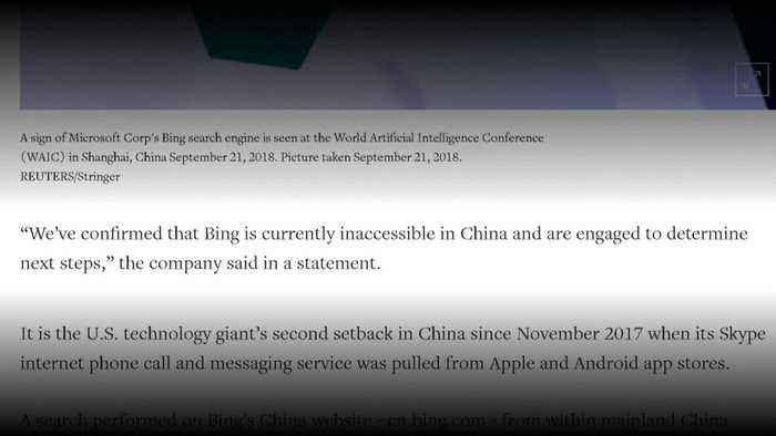 Microsoft says Bing has been blocked in China