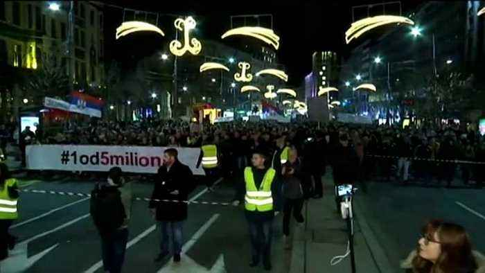 Tens of thousands of people rally across Serbia for the ninth Saturday in a row