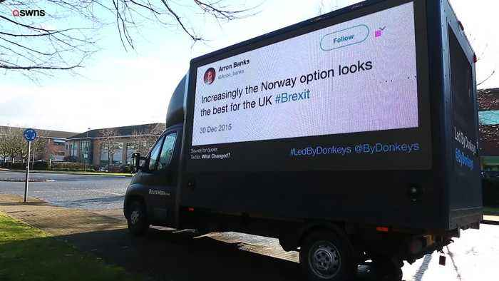 Protest van displays historic tweets by Leave.EU