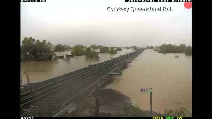 Timelapse of railway disappearing during Australian floods