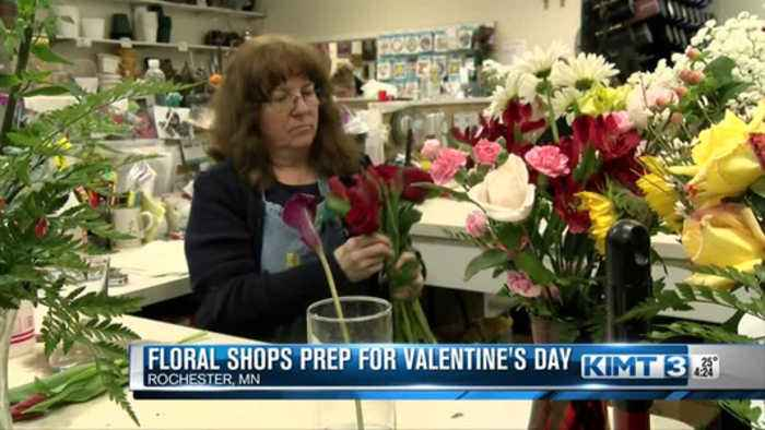 Busy flower sales before Valentine's Day