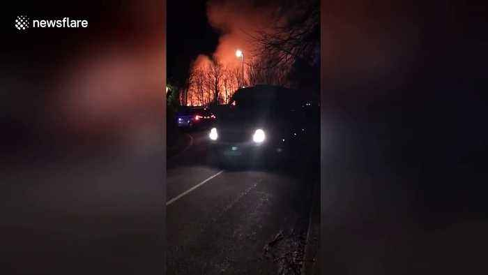 UK hospital engulfed in flames as man is held on suspicion of arson