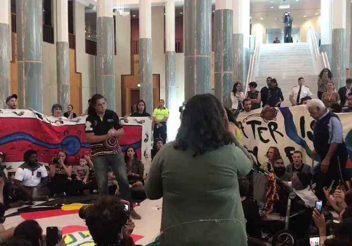 Protesters Stage Climate Change Sit-in at Parliament House, Canberra