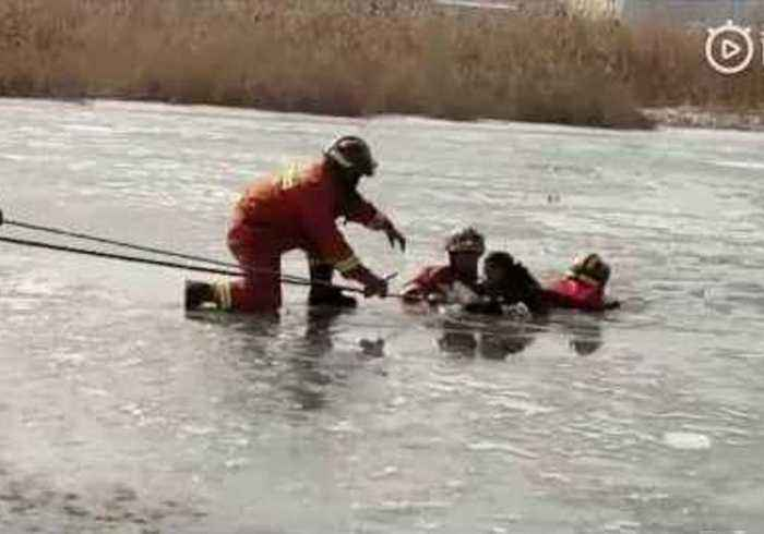 Children Rescued From Lake in West China After Ice Skating Accident