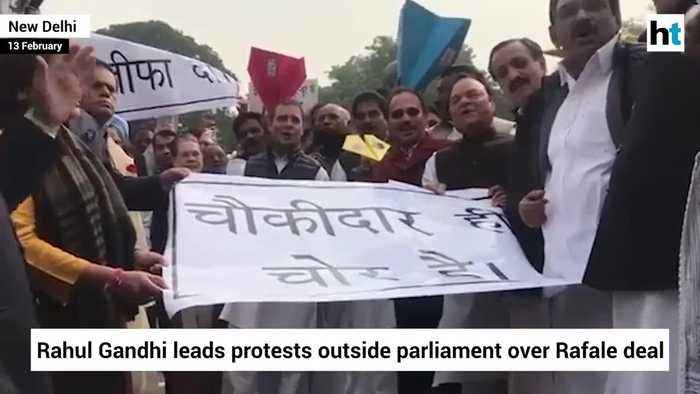 Rahul Gandhi leads protests outside parliament over Rafale deal
