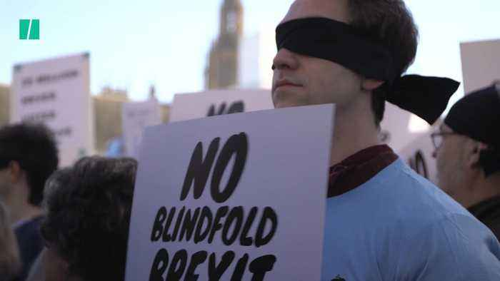 Protesters Wear Blindfolds Ahead Of Brexit Vote