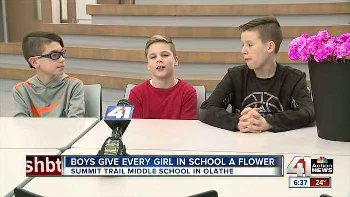 Three Middle School Boys Buy Valentine Flowers For All Female Students And Teachers