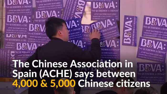 Chinese citizens protest against Spain's BBVA bank