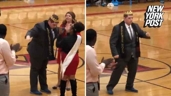 Unlikely homecoming king breaks out into a happy dance