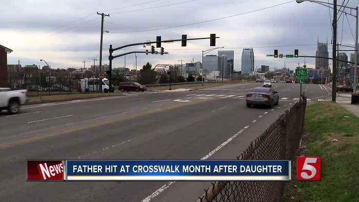 Father, daughter hit separately by cars at same crosswalk