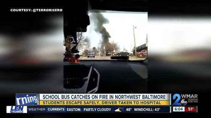 School bus transporting students catches fire on Loch Raven Boulevard