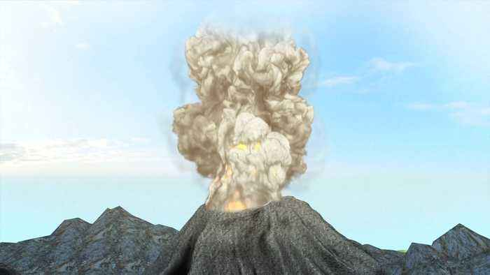 Satellite images show two interconnected volcanoes in Indonesia