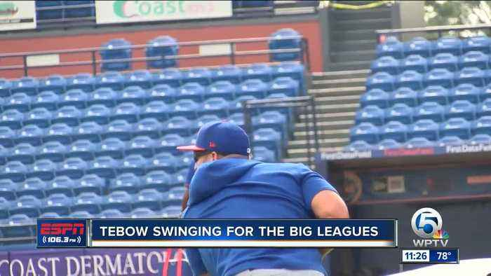 First full practice for Tim Tebow and the New York Mets