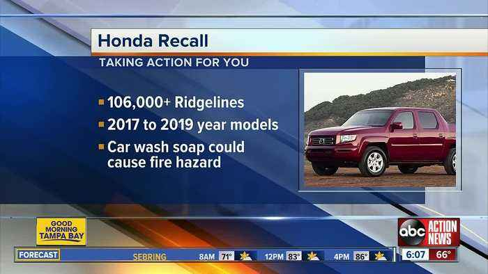 Honda recalling more than 106K trucks at risk of catching fire after car wash