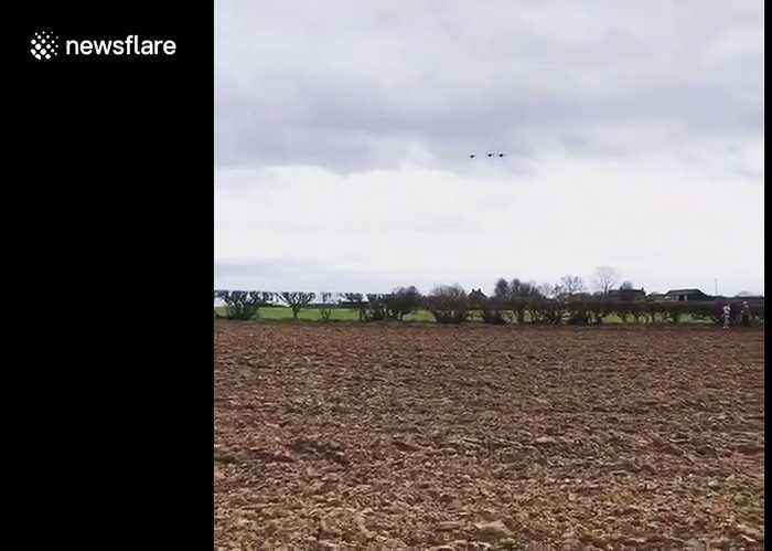 RAF Tornado fighter jets fly past eponymous steam train on their final voyage