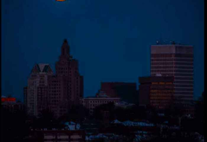 Timelapse Captures Supermoon Over Providence Skyline