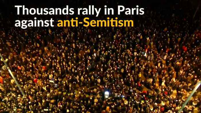 Thousands of Parisians decry anti-Semitism after spike in attacks