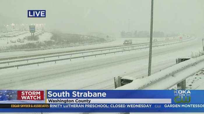 Snow Piling Up On Roads In Washington County