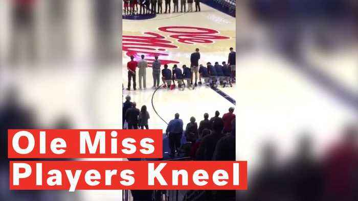 University of Mississippi basketball players kneel during national anthem to protest Confederacy rally
