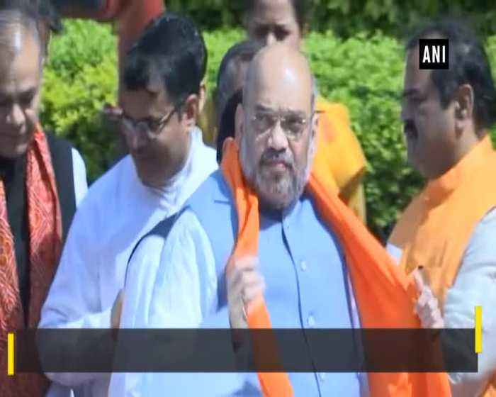 Amit Shah Yogi Adityanath pay floral tribute to Dr BR Ambedkar in Lucknow