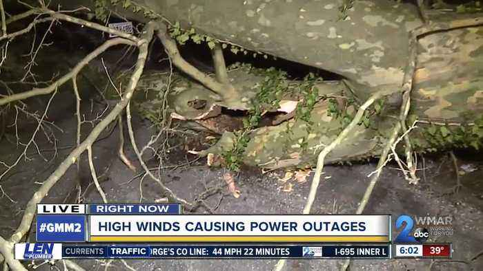 Strong, gusty winds causes power outages and toppled trees across Maryland