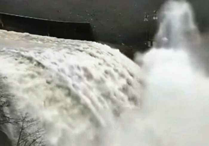 Water Gushes Down Ruth Lake Spillway After Heavy Rain in California
