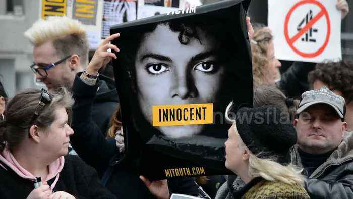 Michael Jackson fans protest outside Channel 4 London HQ ahead of 'Finding Neverland' broadcast