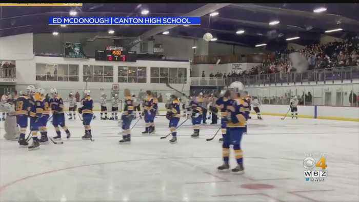 Crowd Finishes National Anthem At Canton-Norwood Hockey Game