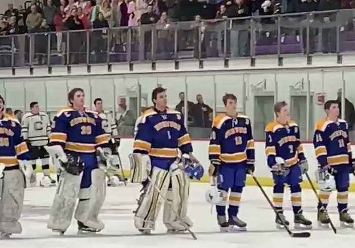 Crowd at High School Hockey Game Finishes Singing National Anthem After Recording Stops