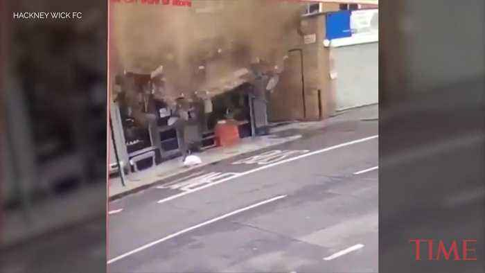 Video Captures Pedestrian's Very Near Miss With Collapsing Building