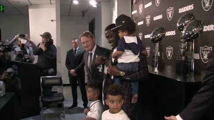 Oakland Raiders wide receiver Antonio Brown brings up his kid at Raiders introductory press conference