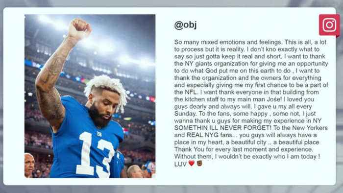 Cleveland Browns wide receiver Odell Beckham Jr. delivers heartfelt farewell to New York Giants, fans on Instagram