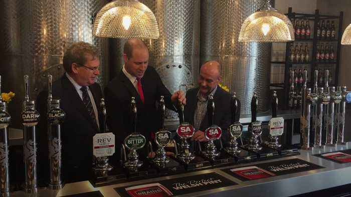 Prince William pulls a pint for Cardiff brewery opening