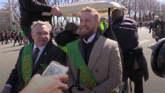 Conor McGregor leads St Patrick's Day parade in Chicago after Miami arrest