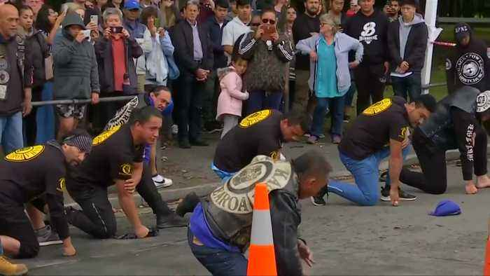 NZ bikers perfom Haka at memorial for shooting victims