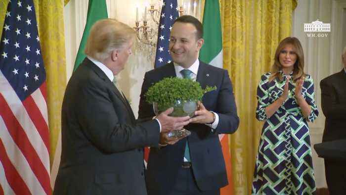 Prime Minister Of Ireland Gives The 'Shamrock Bowl' To President Trump