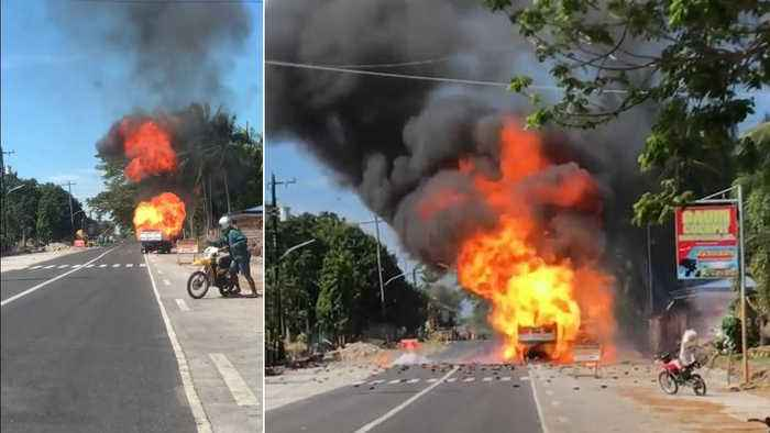 Driver Reverses After Truck Catches Fire