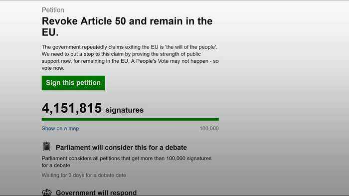 Petition to cancel Brexit most popular ever