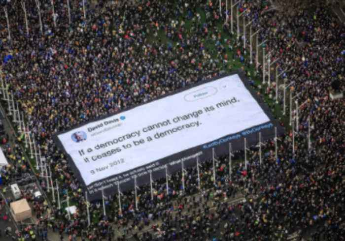 Sea of Anti-Brexit Protesters Holds Banner Mocking David Davis 'Democracy' Tweet Aloft